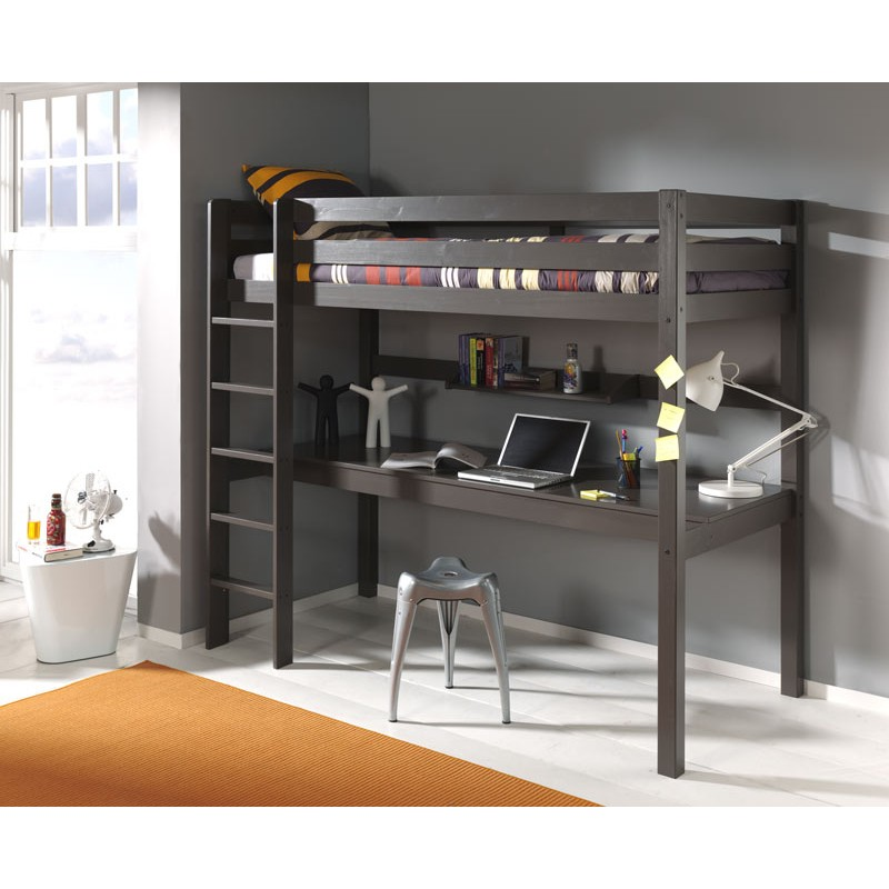 lit enfant superpos bureau pino taupe. Black Bedroom Furniture Sets. Home Design Ideas