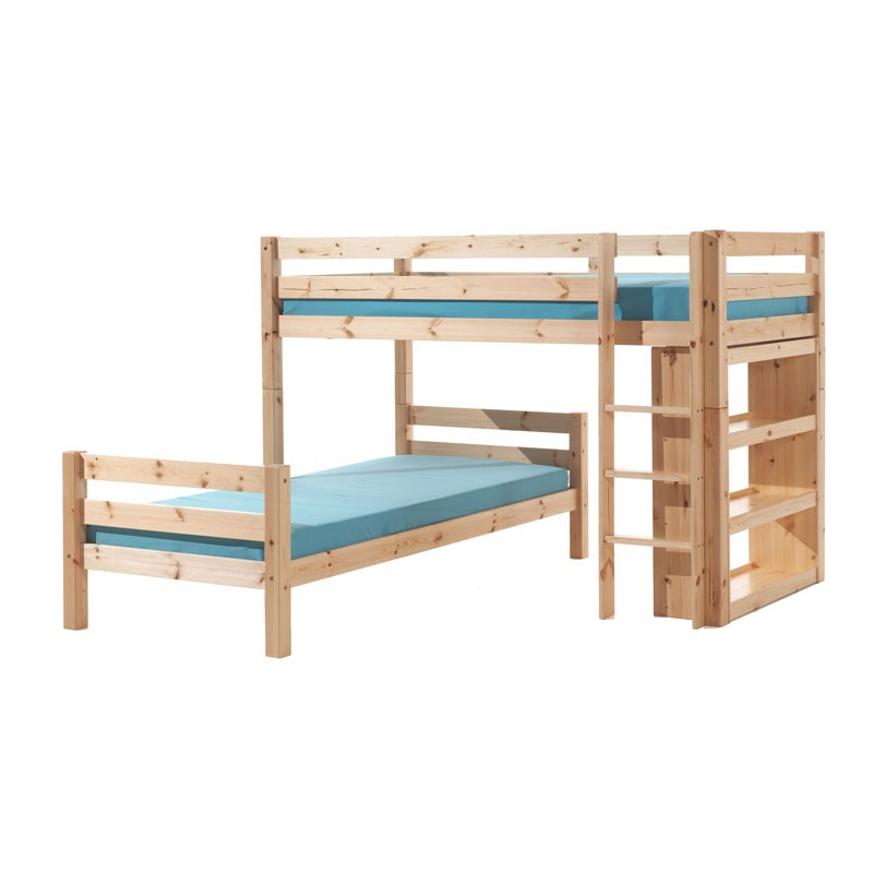 lit enfant superpos d 39 angle pino naturel. Black Bedroom Furniture Sets. Home Design Ideas