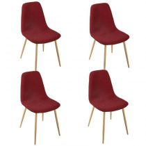 "Lot de 4 Chaises Design ""Roka"" 87cm Rouge"