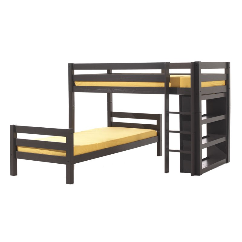 Lit enfant superpos d 39 angle pino gris - Lits superposes d angle ...