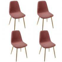 "Lot de 4 Chaises en Velours ""Roka"" 87cm Rose"