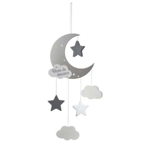 "Suspension Enfant ""Lune"" 43cm Gris"
