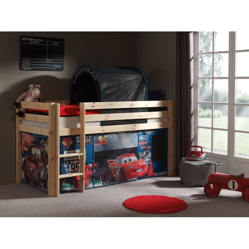 lit enfant sans toboggan pino cars 2 naturel. Black Bedroom Furniture Sets. Home Design Ideas