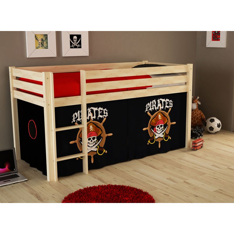 lit enfant sans toboggan pino pirates ii naturel. Black Bedroom Furniture Sets. Home Design Ideas