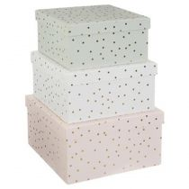 "Lot de 3 Boites de Rangement ""Pois"" 21cm Multicolore"