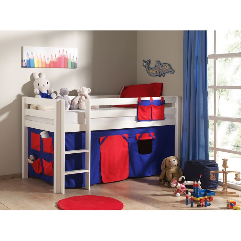 lit enfant sans toboggan pino rouge blanc. Black Bedroom Furniture Sets. Home Design Ideas