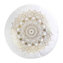 "Coussin Rond Effet Velours ""Nebulis"" 40cm Blanc"