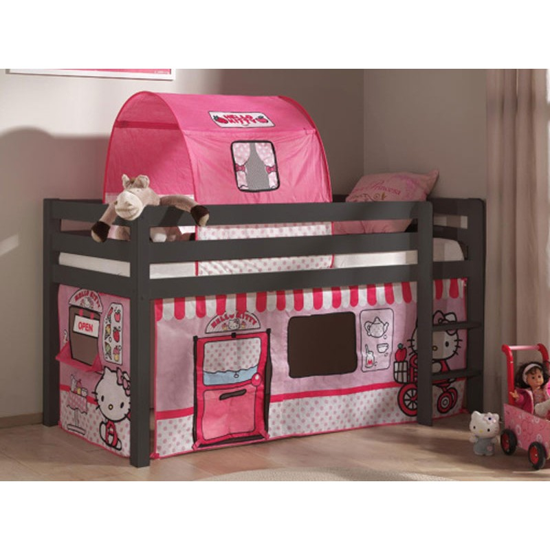 lit enfant sans toboggan pino hello kitty taupe. Black Bedroom Furniture Sets. Home Design Ideas