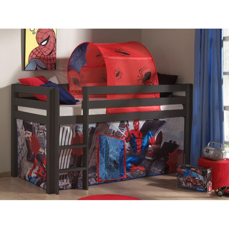 lit enfant sans toboggan pino spiderman taupe. Black Bedroom Furniture Sets. Home Design Ideas