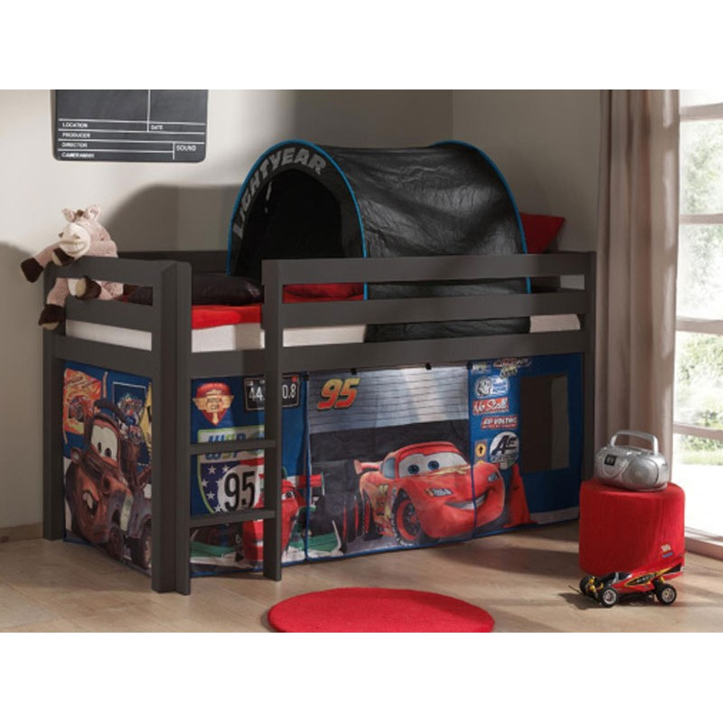 lit enfant sans toboggan pino cars 2 gris. Black Bedroom Furniture Sets. Home Design Ideas