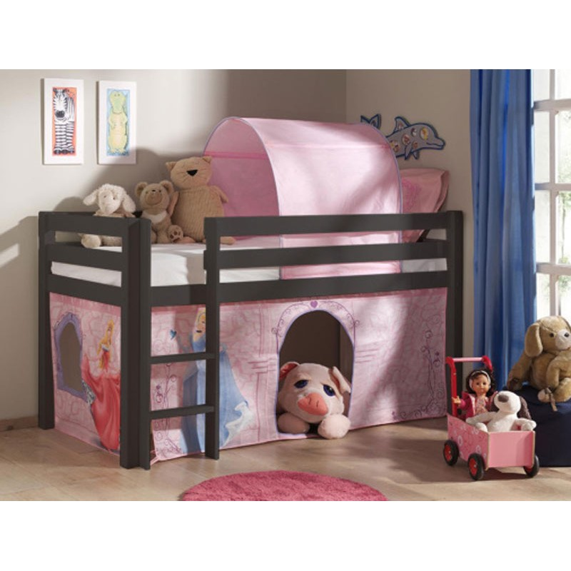 lit enfant sans toboggan pino disney princesse taupe. Black Bedroom Furniture Sets. Home Design Ideas
