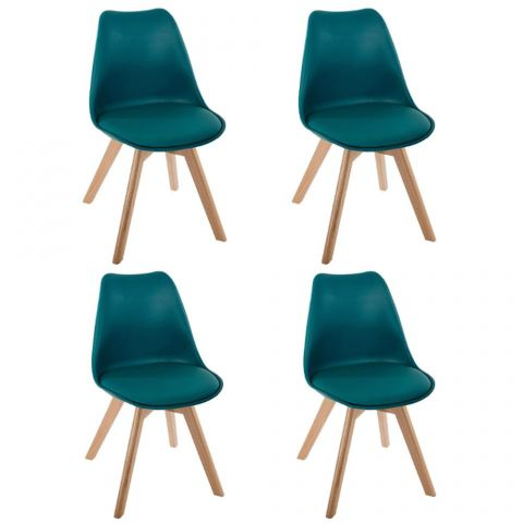 "Lot de 4 Chaises Design ""Baya"" 81cm Bleu"