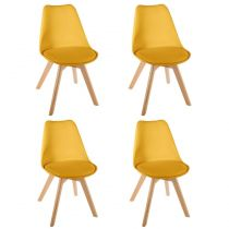 "Lot de 4 Chaises Design ""Baya"" 81cm Jaune"