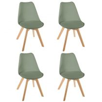 "Lot de 4 Chaises Design ""Baya"" 81cm Kaki"