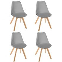 "Lot de 4 Chaises Design ""Baya"" 81cm Gris"