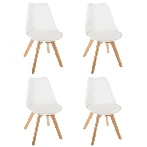 "Lot de 4 Chaises Design ""Baya"" 81cm Blanc"
