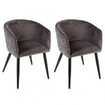 "Lot de 2 Fauteuils Design ""Marlo"" 76cm Gris"