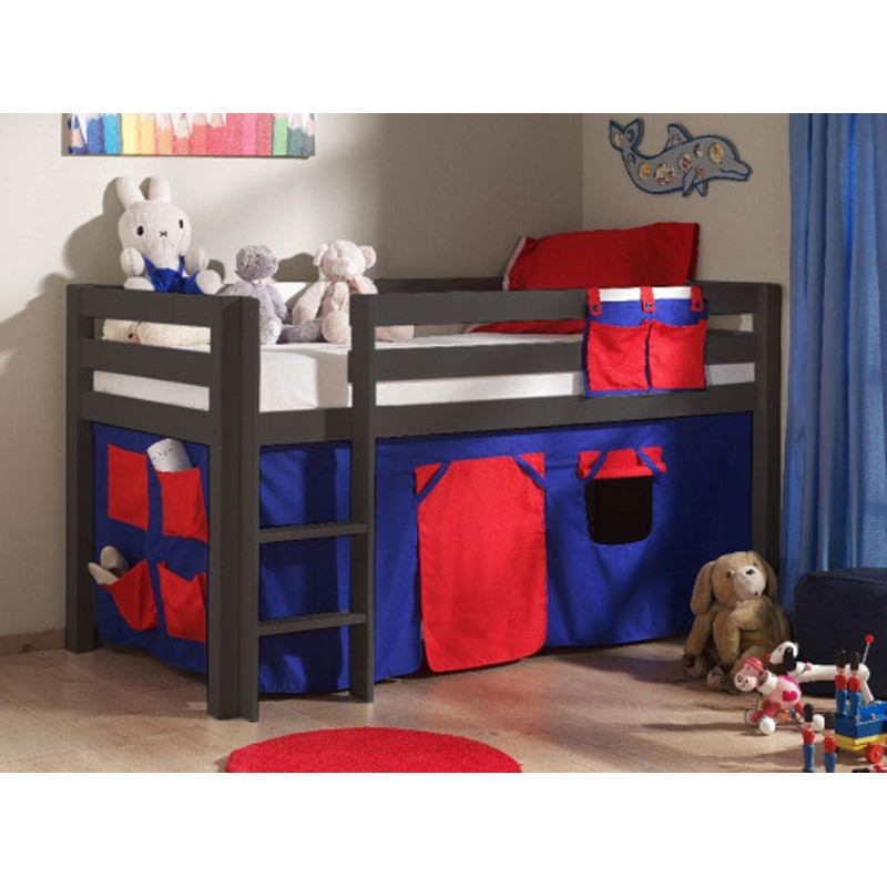 lit enfant sans toboggan pino rouge taupe. Black Bedroom Furniture Sets. Home Design Ideas