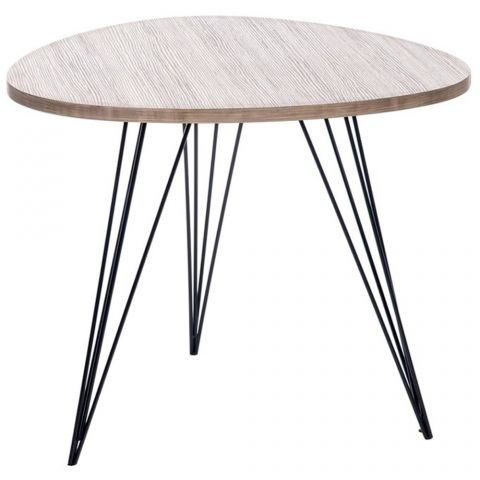 "Table d'Appoint Design Ovale ""Nelly"" 50cm Naturel"