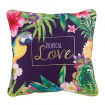 "Coussin Passepoil ""Tropical Love"" 45x45cm Prune"