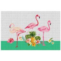 "Set de Table à Motifs ""Flamingo Beach"" 28x43cm Rose"