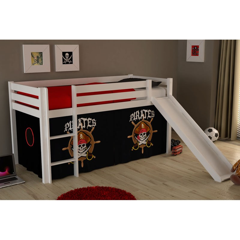 lit enfant avec toboggan pino pirates ii blanc. Black Bedroom Furniture Sets. Home Design Ideas