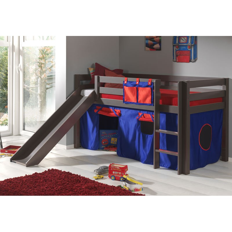 lit enfant avec toboggan pino rouge taupe. Black Bedroom Furniture Sets. Home Design Ideas