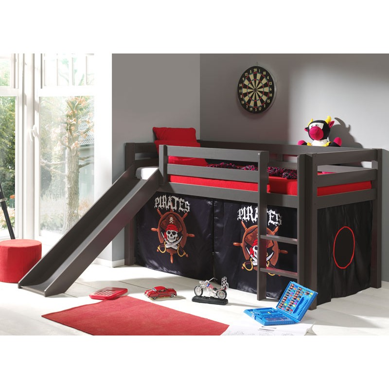 lit enfant avec toboggan pino pirates ii taupe. Black Bedroom Furniture Sets. Home Design Ideas