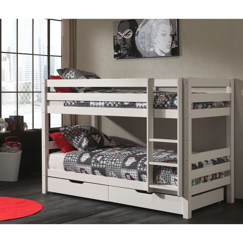 lit superpos 2 tiroirs de lit enfant pino blanc. Black Bedroom Furniture Sets. Home Design Ideas
