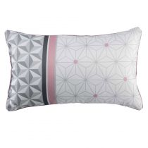 "Coussin Passepoil ""Mirade"" 30x50cm Blanc & Rose"