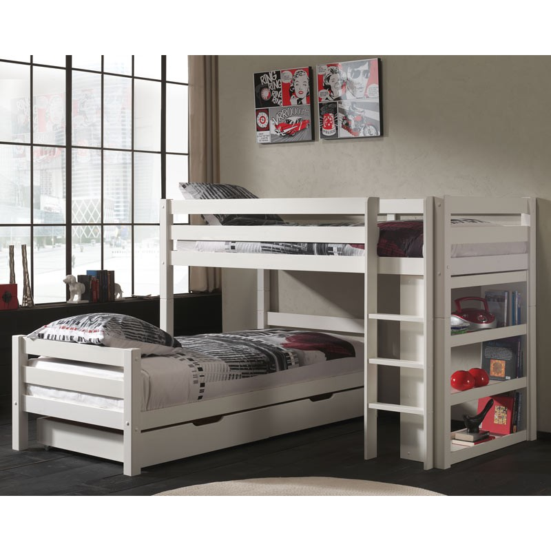 lit superpos d 39 angle tiroirs enfant pino blanc. Black Bedroom Furniture Sets. Home Design Ideas