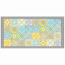"Tapis Rectangle en Vinyle ""Alicante"" 50x100cm Jaune"