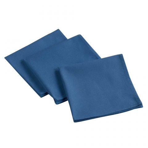 "Lot de 3 Serviettes de Table ""Aubeline"" 40x40cm Bleu"