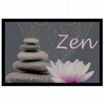 "Tapis d'Entrée Rectangle ""Zen Lotus"" 40x60cm Gris"