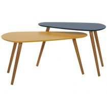 "Lot de 2 Tables Basses ""Ouzo"" 81cm Jaune & Bleu"