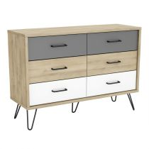 "Commode 6 Tiroirs ""Aksel"" 117cm Naturel"