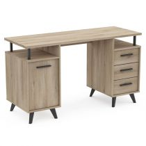 "Bureau 1 Porte & 3 Tiroirs ""World"" 135cm Naturel"