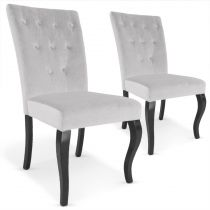 "Lot de 2 Chaises Design Velours ""Lucky"" 106cm Gris"