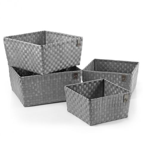 "Set de 4 Paniers Carrée ""Chic"" Gris"
