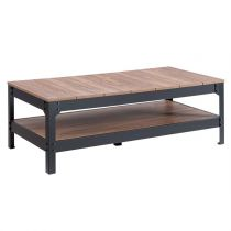 "Table Basse Industrielle ""Logan"" 117cm Naturel"