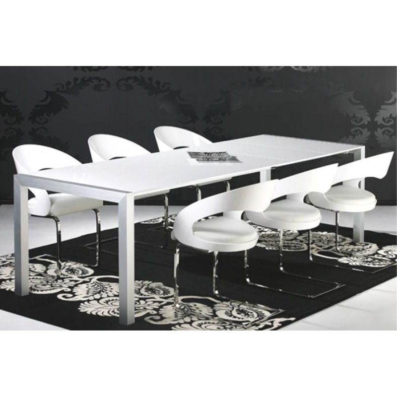 Table manger laqu blanc for Table de salle a manger blanc design