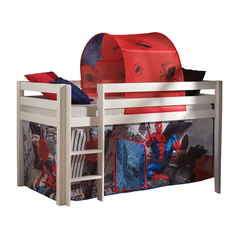 lit enfant sans toboggan pino spiderman blanc. Black Bedroom Furniture Sets. Home Design Ideas
