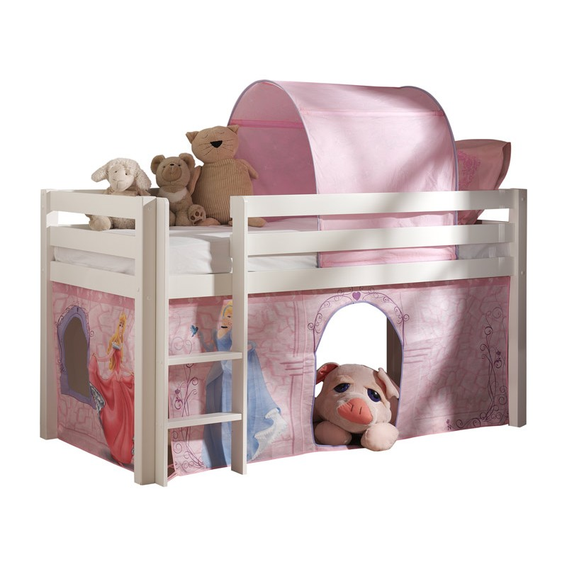 lit enfant sans toboggan pino disney princesse blanc. Black Bedroom Furniture Sets. Home Design Ideas