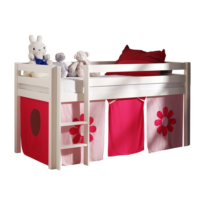 lit enfant sans toboggan pino flower blanc. Black Bedroom Furniture Sets. Home Design Ideas