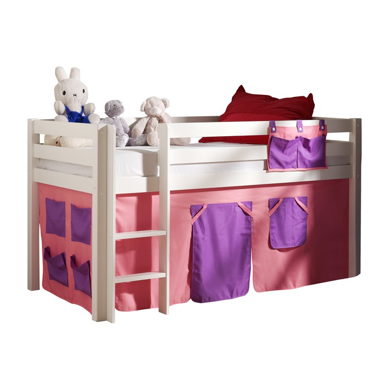 lit enfant sans toboggan pino rose blanc. Black Bedroom Furniture Sets. Home Design Ideas