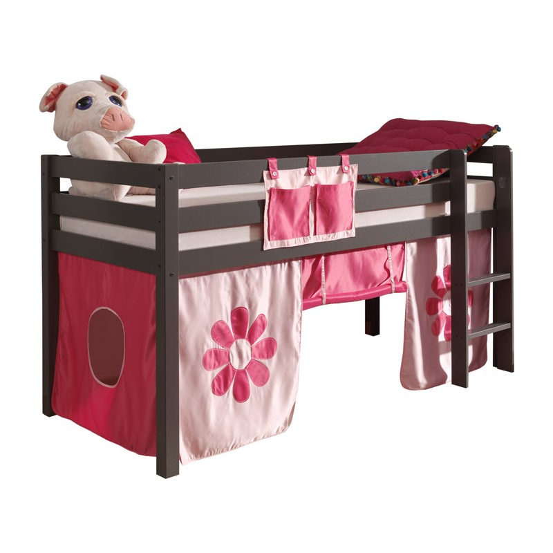 lit enfant sans toboggan pino flower taupe. Black Bedroom Furniture Sets. Home Design Ideas