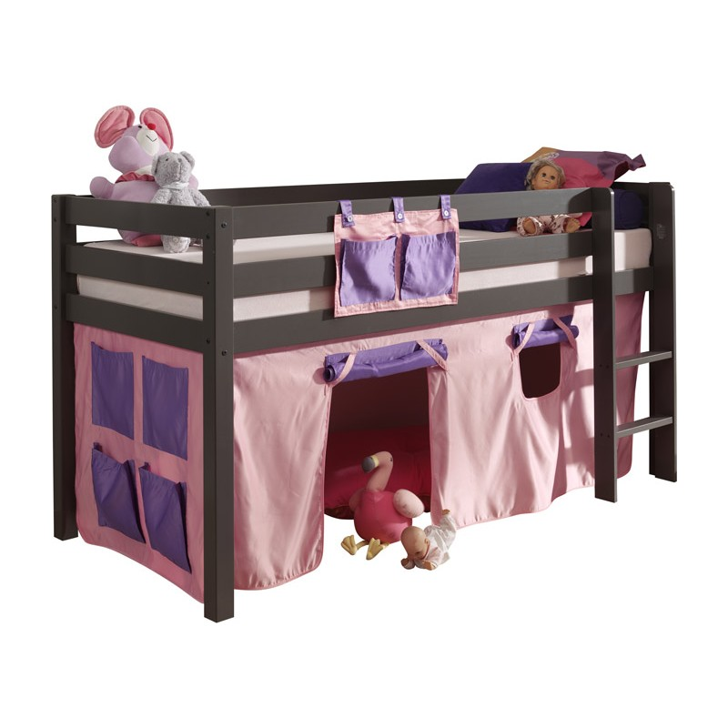 lit enfant sans toboggan pino rose gris. Black Bedroom Furniture Sets. Home Design Ideas