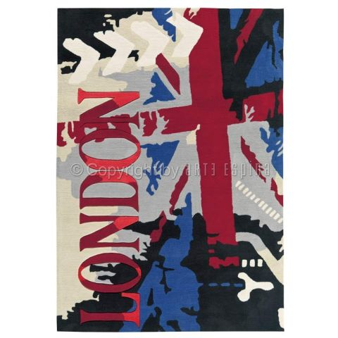 "Tapis Arte Espina ""Down Town London"" Bleu"