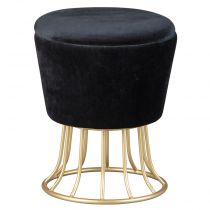 "Pouf Coffre Design en Velours ""Goldy"" 42cm Noir"