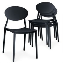 "Lot de 4 Chaises Design ""Tojal"" 81cm Noir"